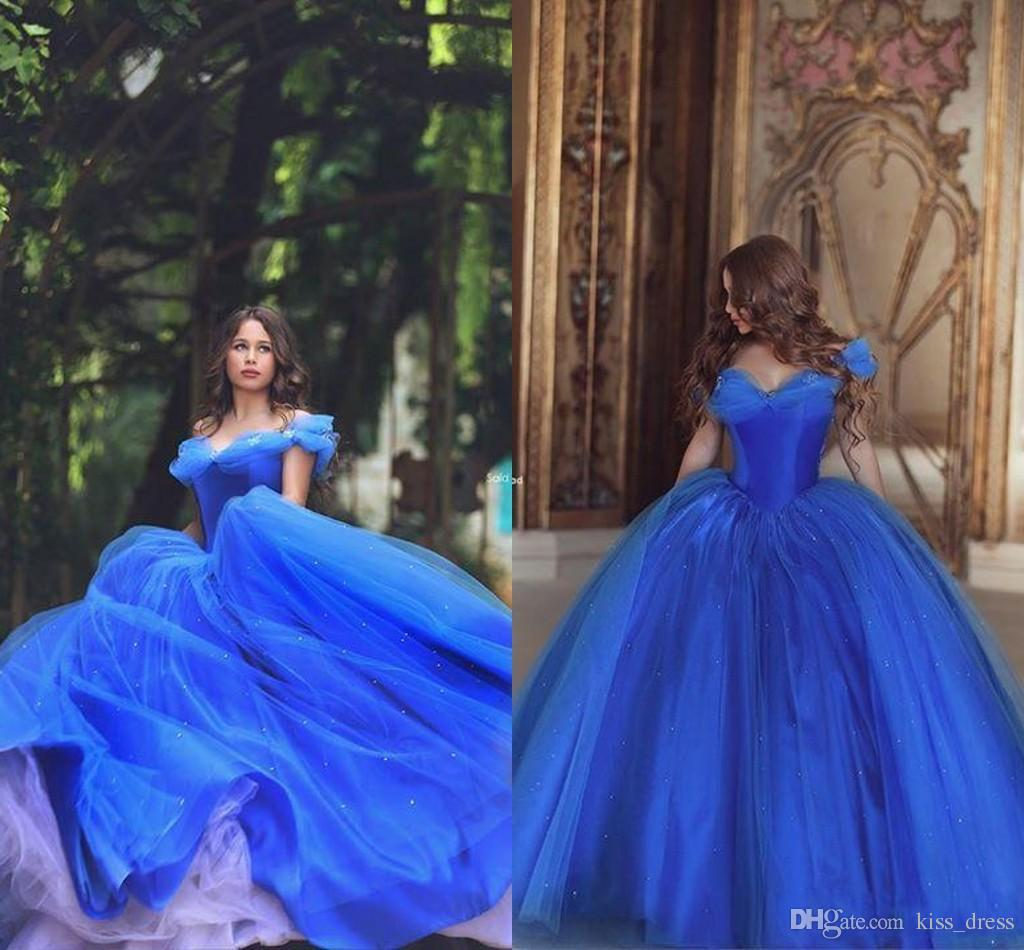 Cinderella Princess Long Prom Dresses 2019 New Custom Royal Blue Off-the-shoulder Tulle Quinceanera Special Ball Gown Evening Gowns P175