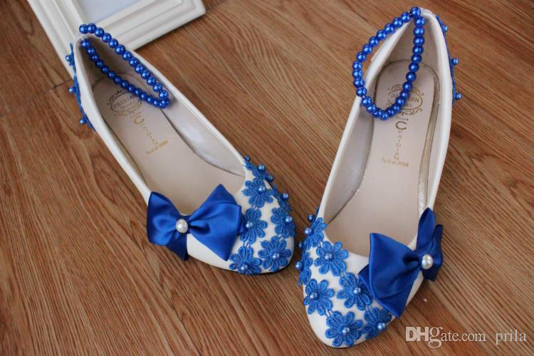Blue bow pumps shoes woman low heel handmade lace pearls beading blue dance shoes DG143 fashion lady coming-of-age evening party blue shoes