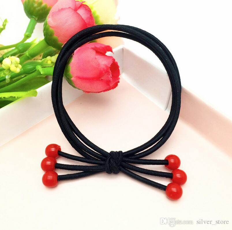 Red beads hair circle hair ornaments small cherry headband rubber band FQ100 a