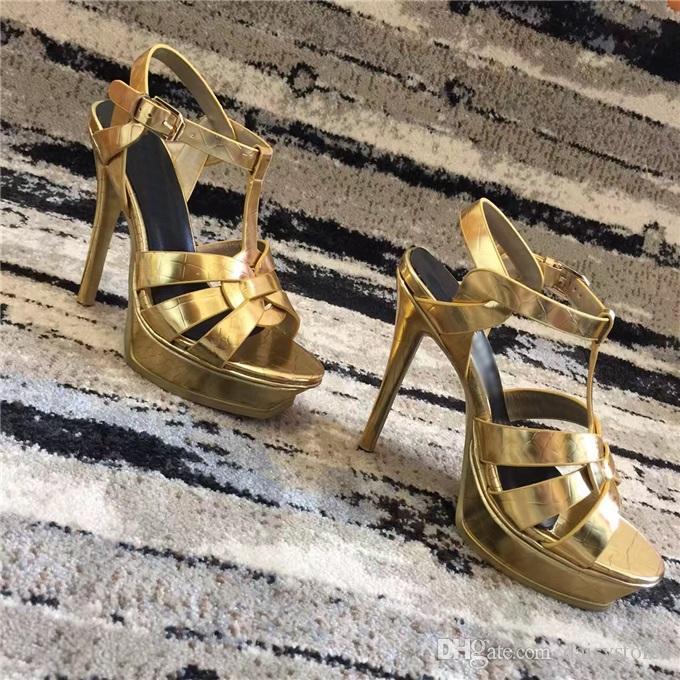 2017 Nuevos Zapatos de Verano Mujer Tributo Sandalias T-correa Súper Alta Sandalias Platfom Diseñador Diapositivas Sandalias de Mujer Fiesta Zapatos Clásicos