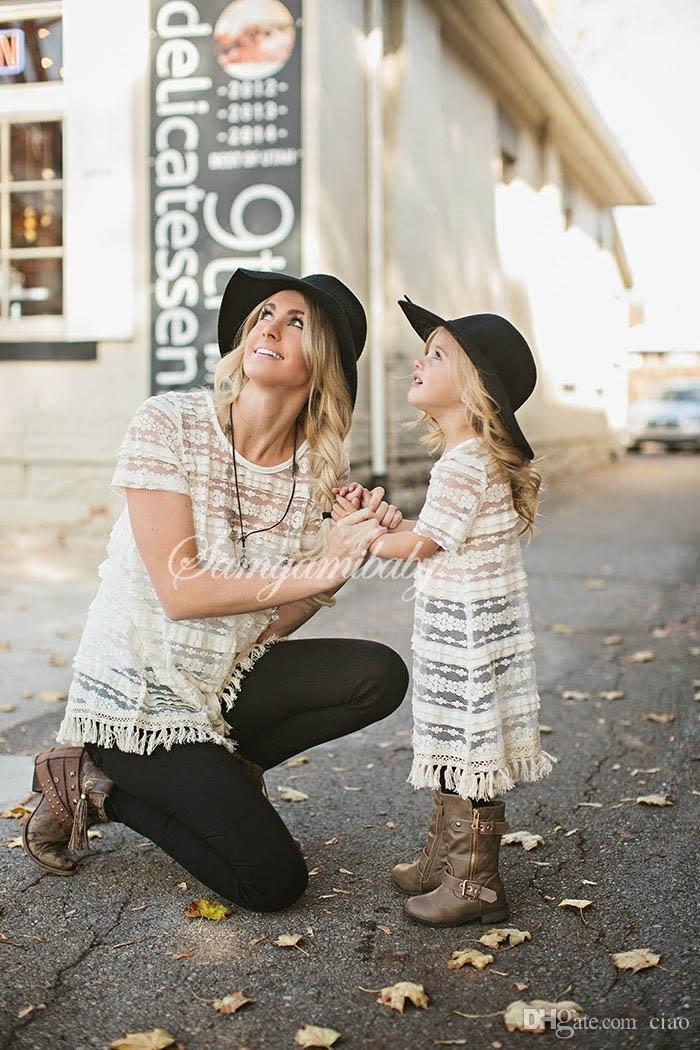 2017 new mom daughter dresses Summer white tassels lace Dress Suits family matching clothing mother and daughter clothes Girls sun-top A323