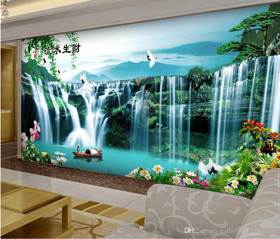 Custom any size water painting landscape painting mural 3d for Custom mural wallpaper