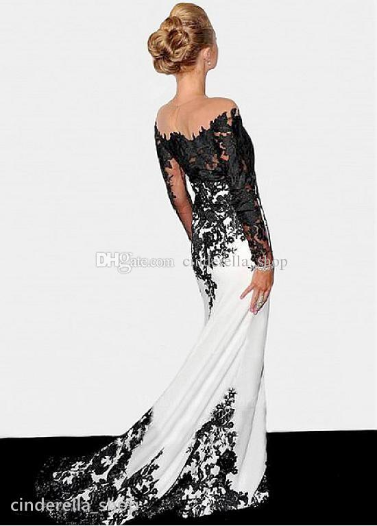 2017 Black And White Formal Mother Of The Bride Dresses Long Sleeve Mermaid court Train Elegant Mother Gowns Sheer Neck Plus Size Customized