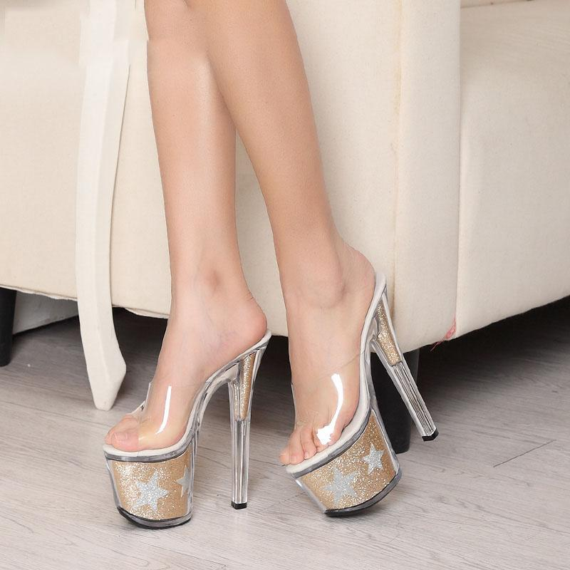2017 Korean Buy Transparent High Heels Pink Shoes Online With ...