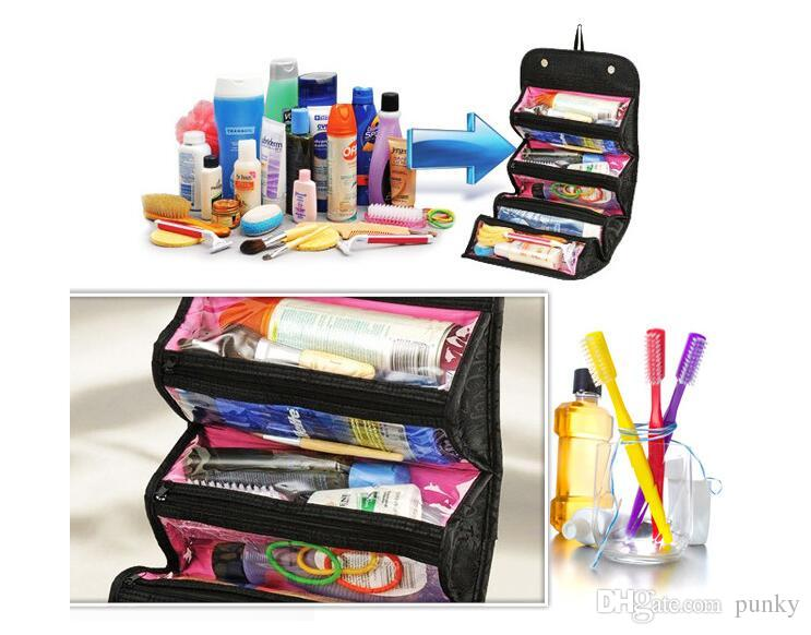 2017 New storage Bags Roll N Go Cosmetic Toiletries Makeup Organiser Bag Pocket Travel Compartment foldable wash Bag