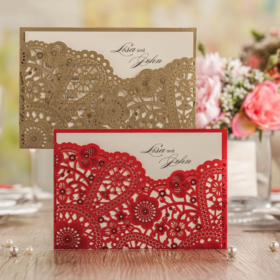 Wholesale Laser Cutting Elegant Wedding Invitation Cards Gold ...