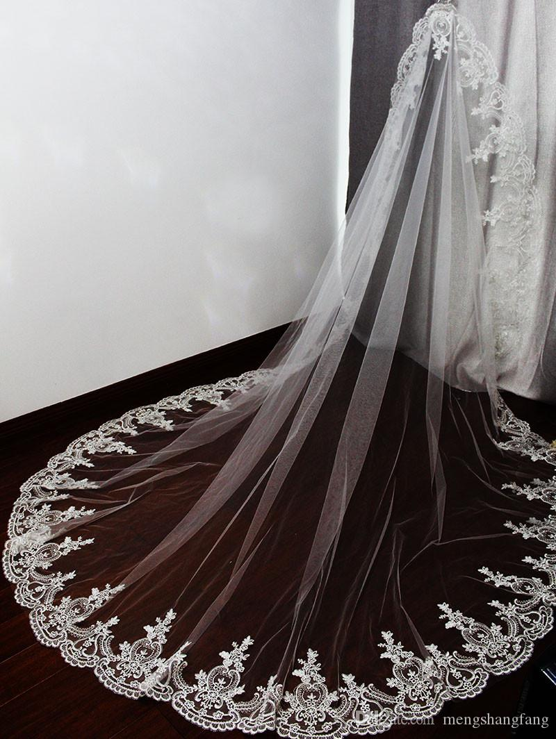 Elegant Lace Edge One Layer White Ivory Tulle Wedding Veil with Comb 2.2 Meters Bridal Veil Bridal Accessories