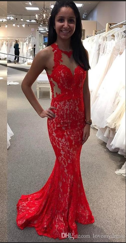2018 Red Lace Oco Voltar Vestido De Noite Formal Vestidos de Bainha Pescoço No Pescoço Designer Barato Vestido de Baileway Cutaway Cintura