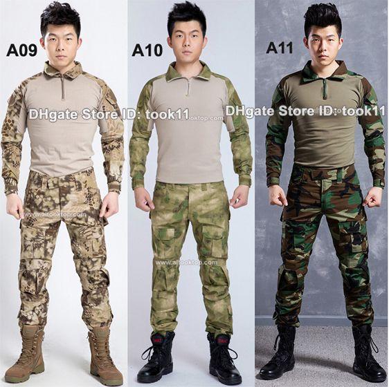 595d69c8ac Compre Atacado Exército Terno De Camuflagem Uniforme Militar Alemão Multicam  Camo Camisa De Combate + Tático Calças Kryptek Paintball Equipamentos Preto  De ...