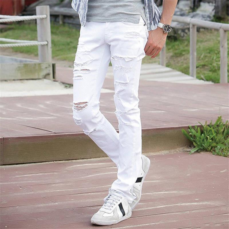 4cf9c518c9910 Compre Al Por Mayor 2016 De Moda Blanco Rasgado Jeans Hombres Con Agujeros  Super Skinny Famosa Marca De Diseñador Slim Fit Destruyó Pantalones De Jean  ...