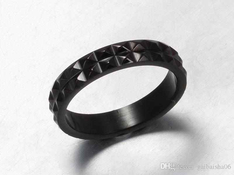 MEAGUET COOL BIKER Ringe für Frauen Mode Black Punk Design Ring Für Party Schmuck 4mm breit R-090