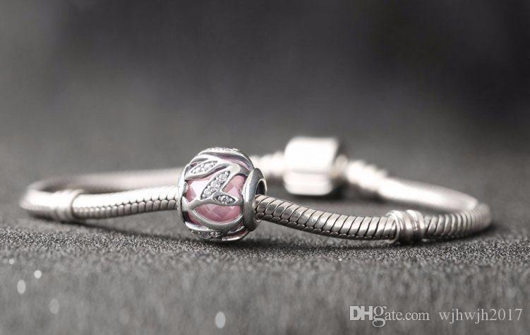 Yeni Pembe Kristal Faceted doğanın Radiance Charms Boncuk DIY Için 925 Ayar Gümüş Boncuk Marka Bilezik Takı Yapma Aksesuarları