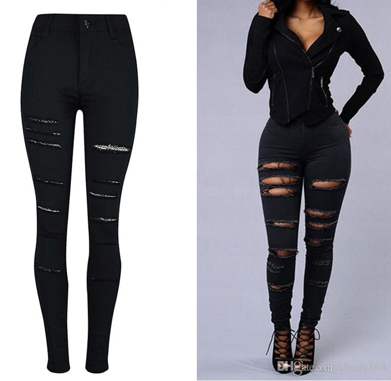 best cheap super cheap compares to new york New Sexy Women High Waisted Jeans Destroy Jeans Slim Skinny Ripped Denim  Jeans Bodycon Pencil Jean Trousers