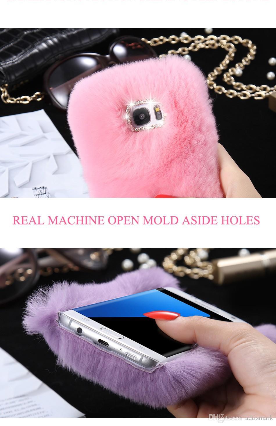 S7edge Lapin Cheveux Téléphone Phone Funda Diamant Trou Couverture De Cheveux pour Samsung Galaxy S7 S7edge Cas Lisse Téléphone Fundas Capa