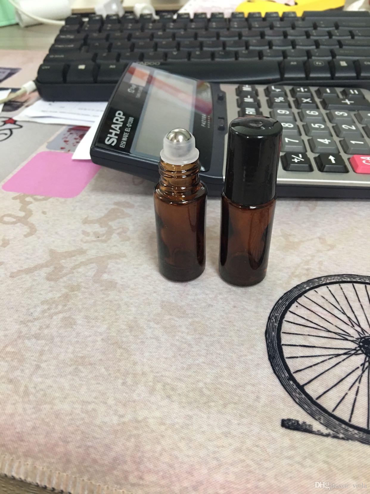 Portable 5ml 1 / 6oz MINI ROLL ON Botella de vidrio fragancia PERFUME Amber Brown BOTELLAS DE CRISTAL DE GRUESO ACEITE ESENCIAL Bola de metal y acero
