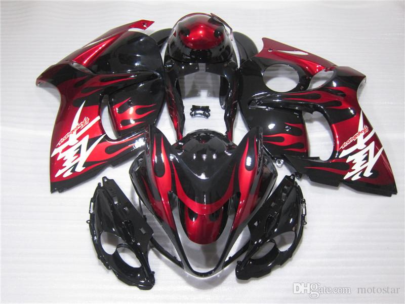 Enjeksiyon Motosiklet Suzuki GSXR1300 08 09 10 11-14 Şarap Kırmızı Siyah Perileri Seti GSXR1300 2008-2014 OT01