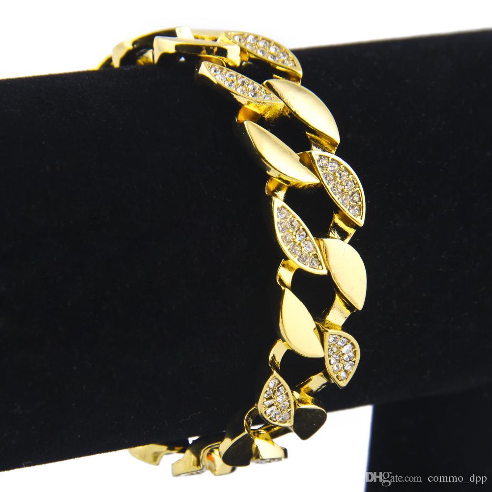 Gioielli Hip Hop Bracciali Iced Out di lusso Bracciali a metà Diamond simulati Catena di anelli cubani colorati Miami Miami