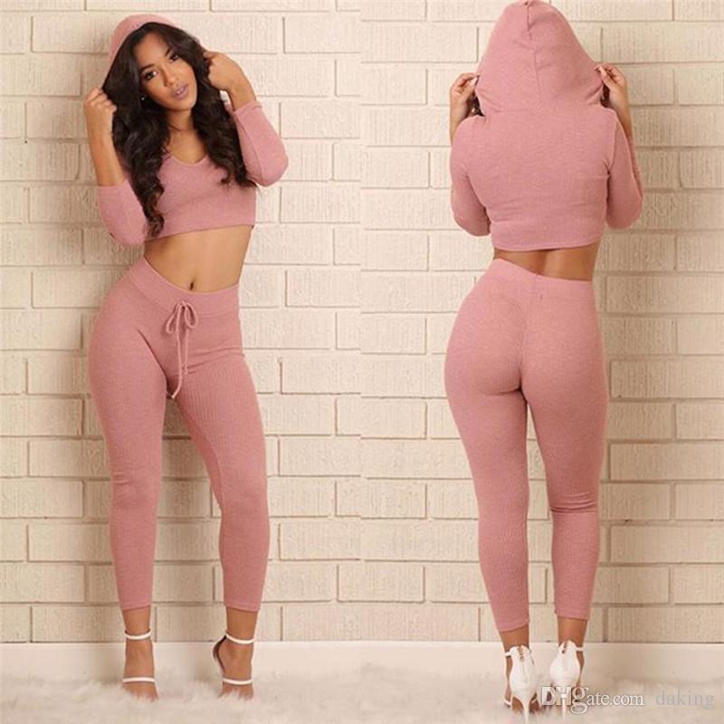 Europe New femmes marée costume à capuche Sweat à capuche sexy rose en tricot de coton Sweat-shirt Ensembles Tops courtes ajouter un pantalon élastique mince cordon de serrage de sport