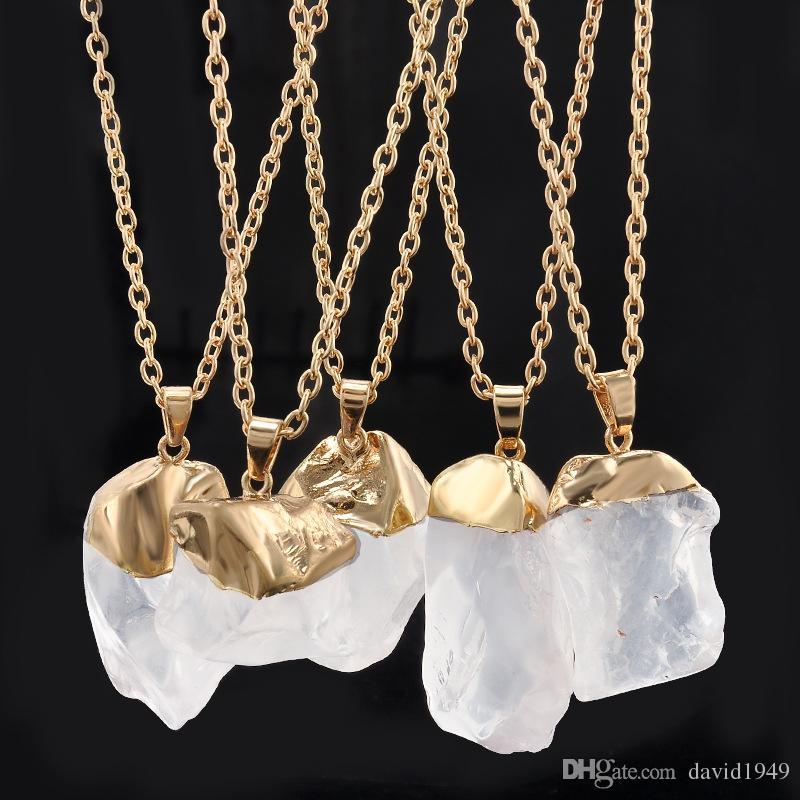 Natural Stone Necklace Women Irregular Druzy Stone Necklaces Pendants Natural Crystal Pendants for Jewelry