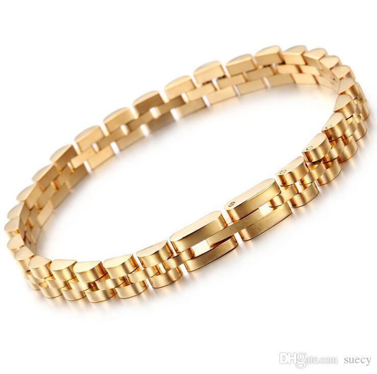Gold Silver Plated Hiphop Watchband President Strap Bracelet 316L Stainless Steel Mens Womens Heavy Bracelet Bangles 7mm *20.5cm