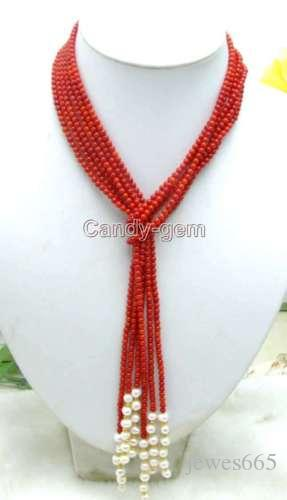 VENTA Natural 3-4mm Rosa Redondo Coral Blanco Perla 3 Hilos 45 ... 452b44273e1