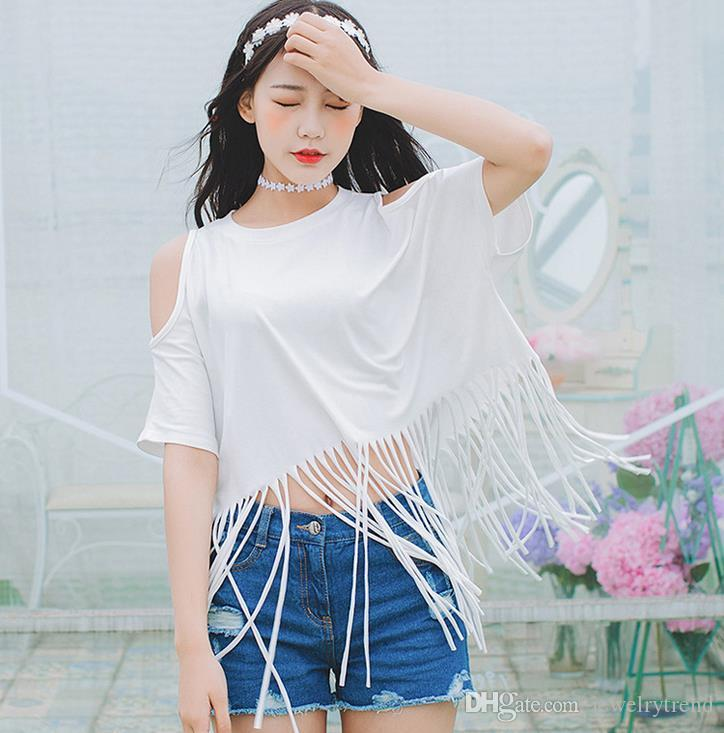 122a71ab837f27 2017 Summer Women S Tassels Cotton T Shirt Lady S Off Shoulder Short Sleeve  Sexy Tops Tee Casual Loose Tshirts Black White C2936 Online Shop T Shirt  Shirts ...