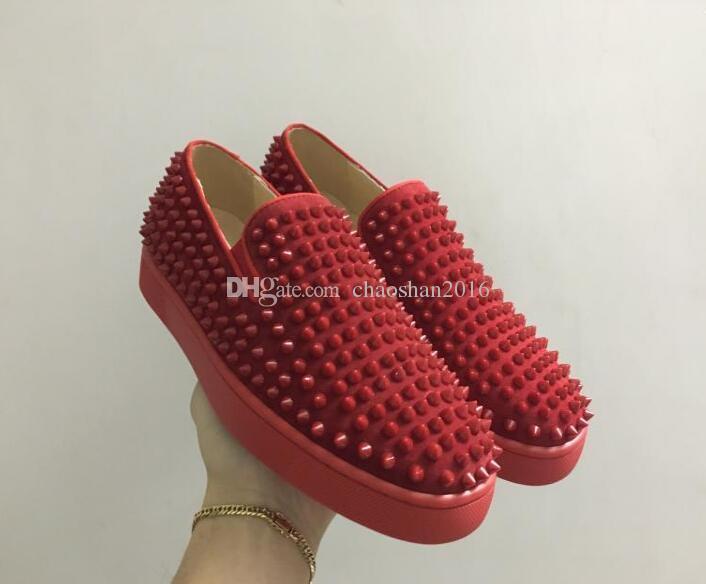 Drop shipping Için yeni rahat Lüks Tasarımcı Kırmızı Alt Loafer'lar Erkekler yüksek üst Hakiki Deri Platformu Üzerinde Kayma Casual Sneakers Spike ...