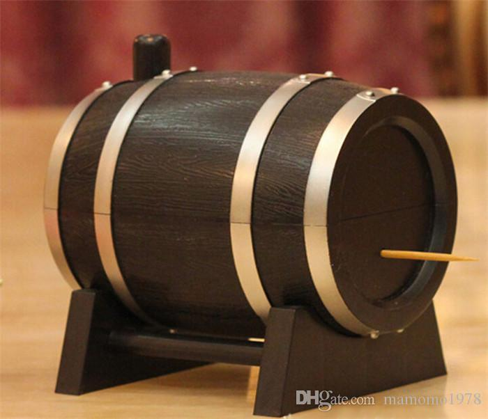 Creative Oak Wine Barrel Type Automatic Toothpick Holder Press Bucket Dispenser Tooth Pick Cotton Swab Case box Black O 0336
