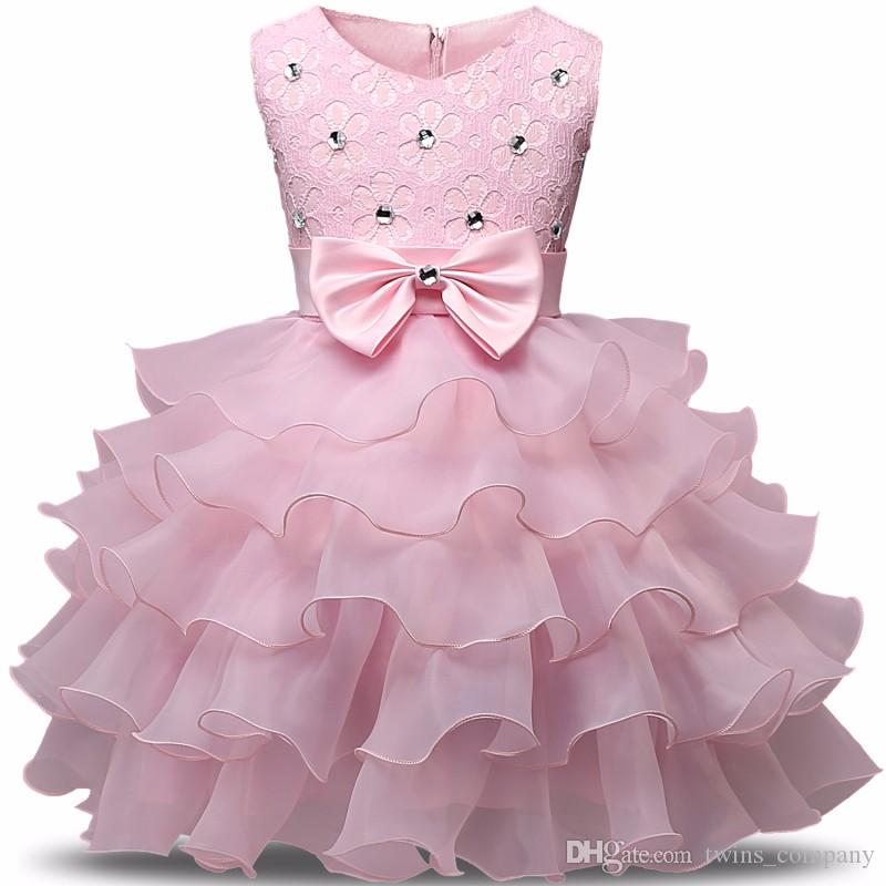 2017 Fashion Girls Wedding Princess Dress Winter Formal Gown Ball Flower Kids Clothes Children Clothing Party Girl Dresses