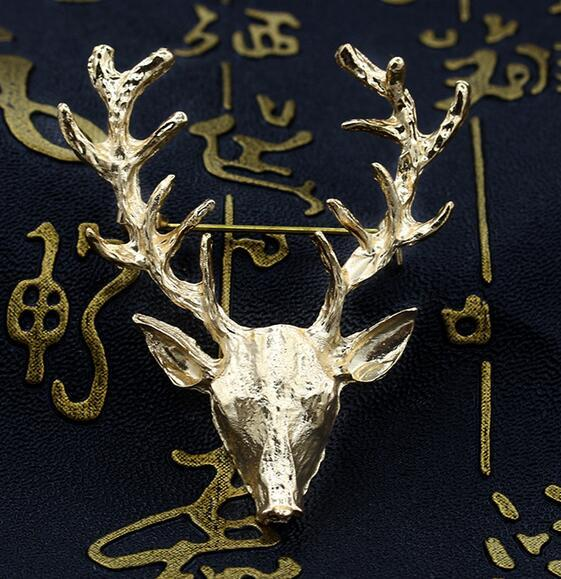Pin broche de natal para o casamento broches de animais venda quente unisex xmas popular bonito chifres de veado de ouro cabeça pin moda jóias styling dhl