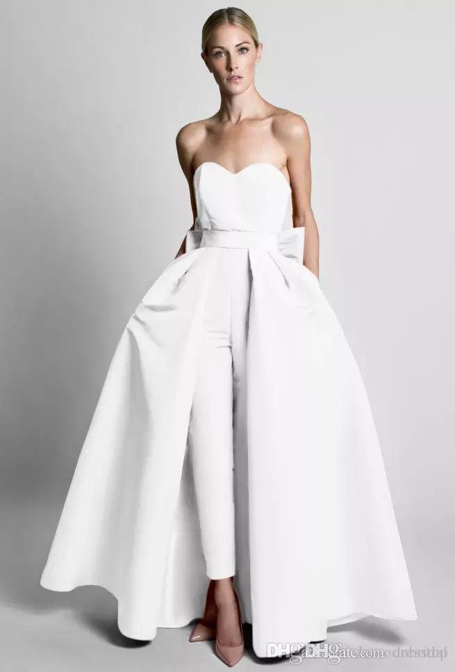 Krikor Jabotian Evening Dresses Jumpsuit Silk Satin Bow Back With Detachable Skirt New Formal Dress Sweetheart Neck Floor Length Prom Dress