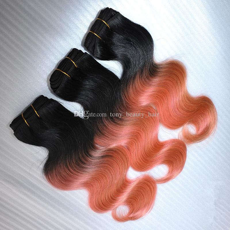 Cheap New Sale Two Tone 1B/Rose Gold Pink Ombre Brazilian Body Wave Wavy Virgin Human Hair Weave Weft Extensions 3 Bundles