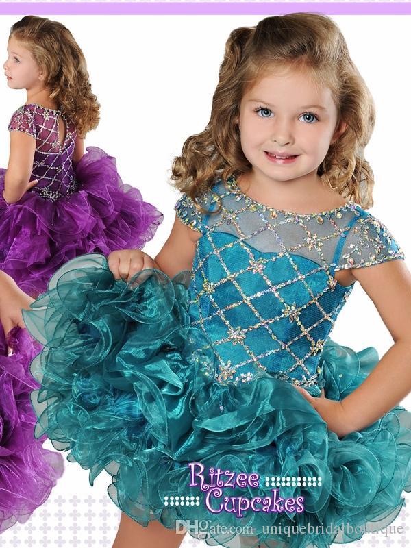 Abiti da spettacolo bambini 2019 con maniche corte e diamante Criss Cross Top Corpetto Ritzee Cupcake B850 Vestito da cerimonia ragazze formale Giada