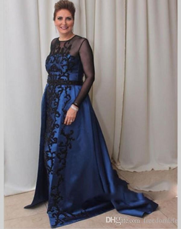 Elegant Long Sleeve Mother Of The Bride Dresses Lace Appliques Mother Groom  Gowns Plus Size Vestido mae da noiva Wedding Guest Dress