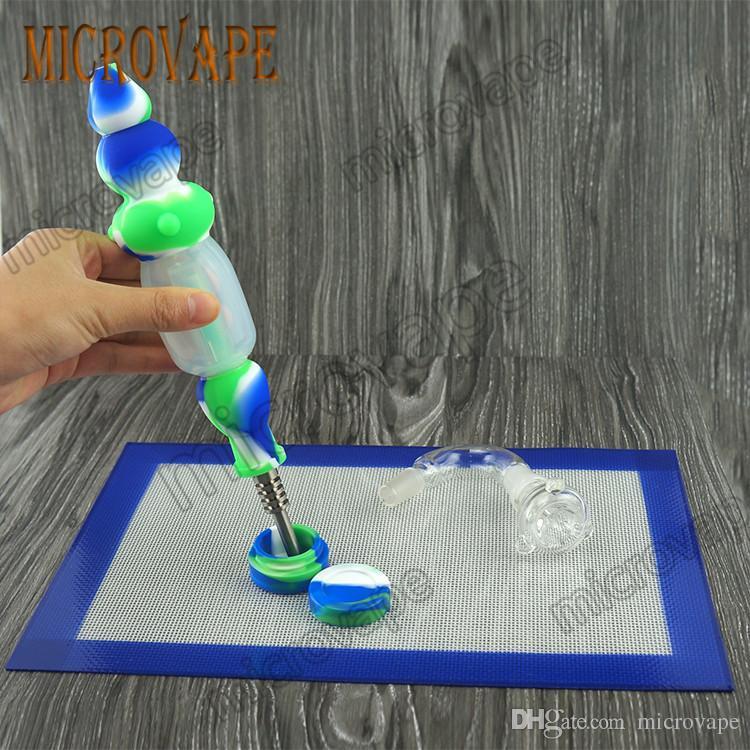 Raccoglitore di nettare di silicone 14mm acqua da fumo olio dab rig bong nector collettore con Gr2 titanio spedizione gratuita