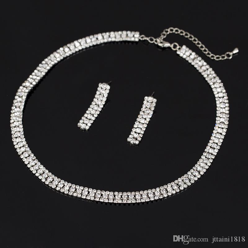Luxus-elegantes Hochzeits-Schmuck-Set einschließlich 1 Paar-Blumen-Bolzen-Ohrringe 1 Braut CZ Stein-Anweisung Halskette