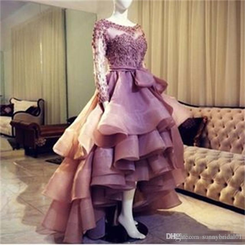 Romantic 2017 Sheer Boat Neck Beaded Appliques Puffy High Low Evening Dresses with Full Sleeves Prom Gowns Robe de Soiree Party Dress