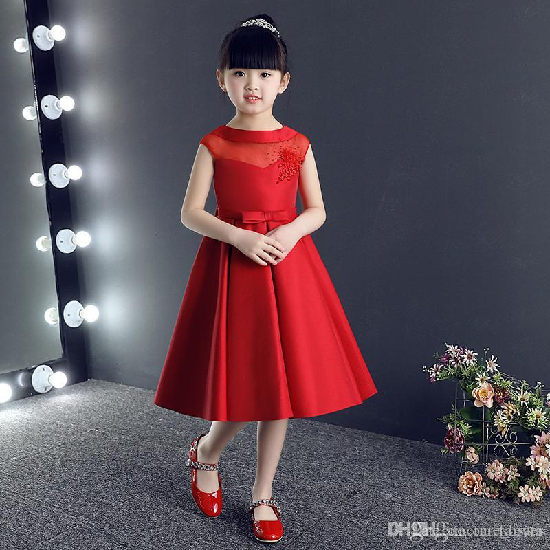 Jewel Neck Pretty Flower Girl Abiti da ragazza formale Abiti Carino Abiti da spettacolo rosso satinato 2017 Nuovi abiti stile prima comunione
