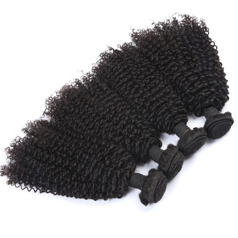 Virgin Indian Kinky Curly Hair Weave Bundles Unprocessed Human Hair Weaves Natural Color Double Weft Brazilian Peruvian Hair Extension