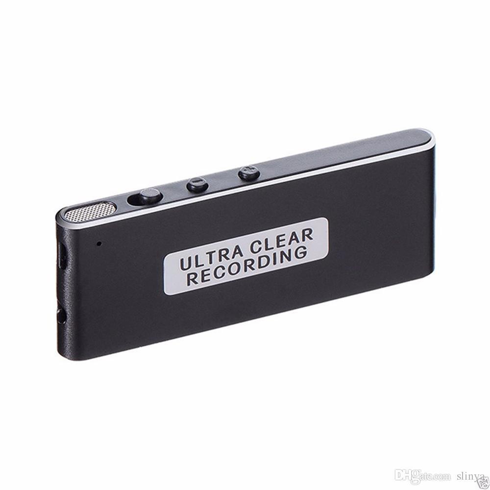 Ultra sottile argento nero chiaro registrazione portatile 8 GB USB Flash Drives Digital Voice Recorder Musica MP3 Player Recording Pen