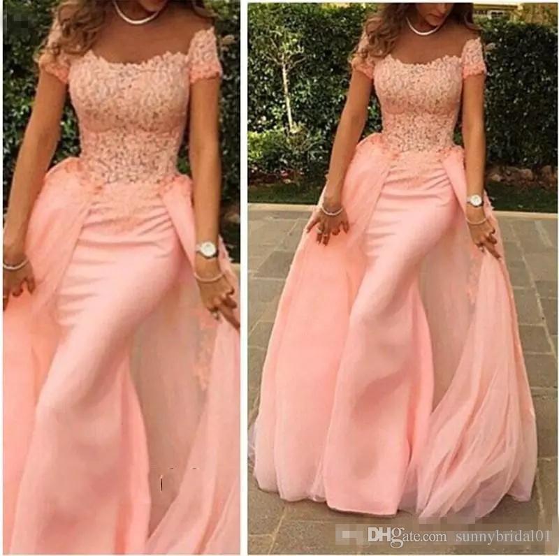 Elegante vestido de noche formal de la sirena festoneado de la manga casquillo superior del piso del cordón vestidos largos de estilo árabe Rosa 2017 Calidad Alta llegada