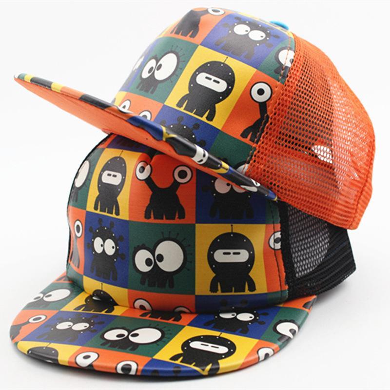 Summer Children s Cartoon Robot Mesh Cap Printed Hip-hop Ball Hat ... b5fd995a8f4d