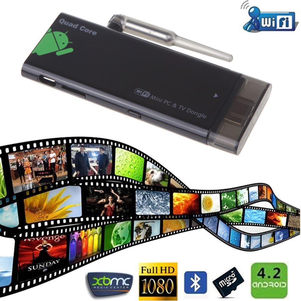 TV Stick CX919 Android 4.2 Mini PC Box Quad Core 2G / 8 Go TV Stick Bluetooth Dongle 1080P avec antenne WiFi externe EU Plug