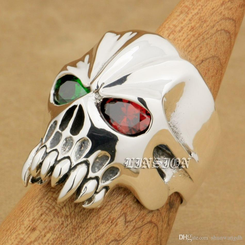 LINSION Huge Heavy 925 Sterling Silver Green + Red CZ Eyes Skull Mens Biker Rocker Punk Ring 9M604 US Size 7~15