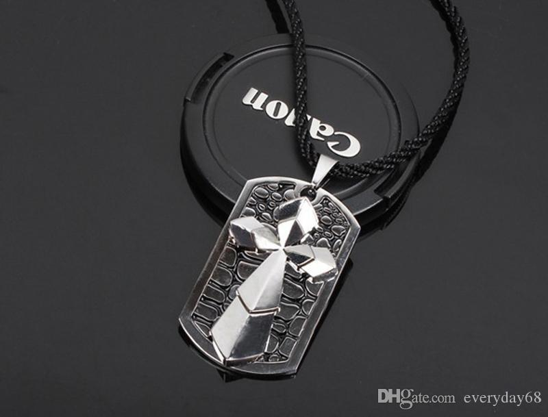 Fashion Christian cross necklace Titanium double crosses pendant necklaces rope chain tags for men punk jewelry