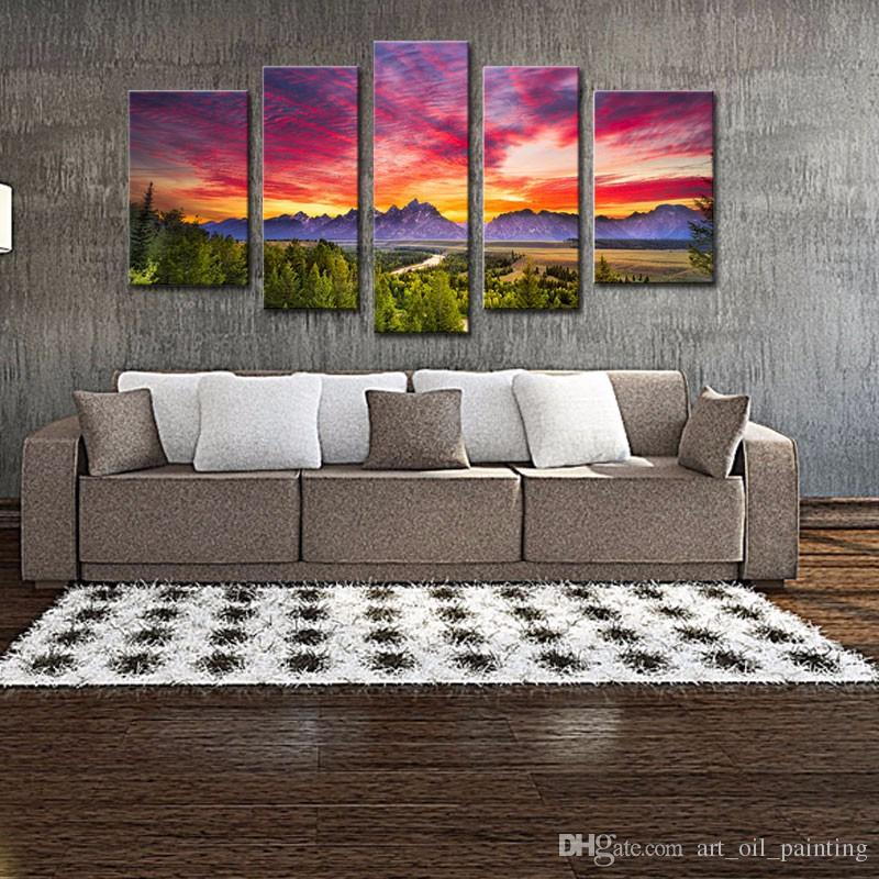 Discount 5 Panels Sunset Mountain Painting Wall Art Grand Teton National  Park Landscape Picture Print With Wooden Framed For Home Decor From China |  Dhgate.