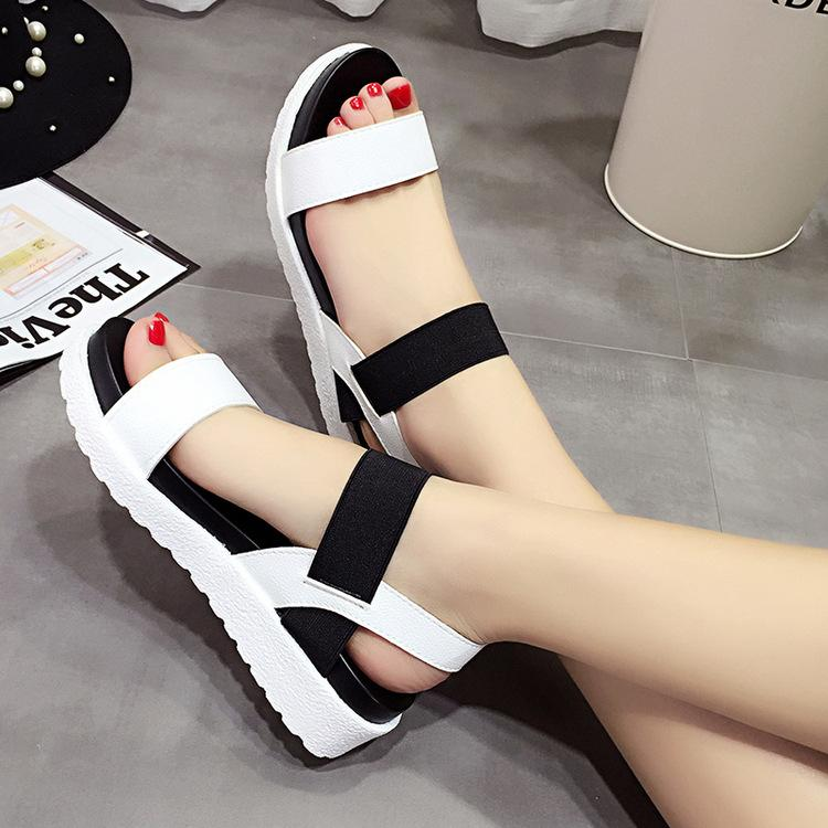 fa8078477999a6 Women Designer Sandals Simple Design Open Toe Elastic Band Patchwork Platform  Sandals For Ladies Platform Sandals Bamboo Shoes High Heels Shoes From ...