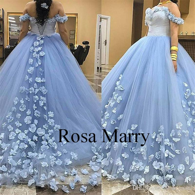 2927d328592 Light Blue Sweet 16 Quinceanera Dresses 2017 Ball Gown Off Shoulder 3D  Floral Puffy Tulle Girls Masquerade Prom Party Gowns Vestidos 15 Anos Big  Quinceanera ...