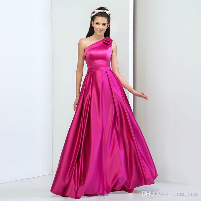 Compre Simple Diseño Fucsia Satén Plus Size One Hombro Vestido De ...