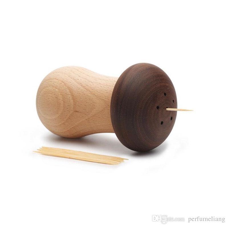 Простой деревянный держатель зубочистка персонализированные Гриб зубочистка коробка настольные украшения домашний ресторан украшения подарок бесплатная доставка ZA3031